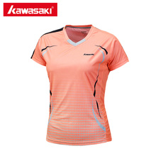 Kawasaki 2017 Summer Short Sleeve Tennis T Shirts V Neck 100% Polyester Women Sports T-shirt for Female Sportswear ST-172005