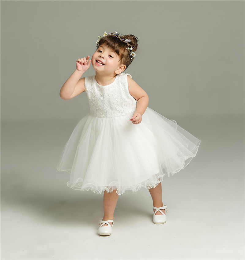 58bbd6e599f8e 2pcs Set Of One Year Old Baby Girl Baptism Dress Princess Wedding Vestidos  Tutu 2019 Baby Girl Baptism Clothes ABF164701