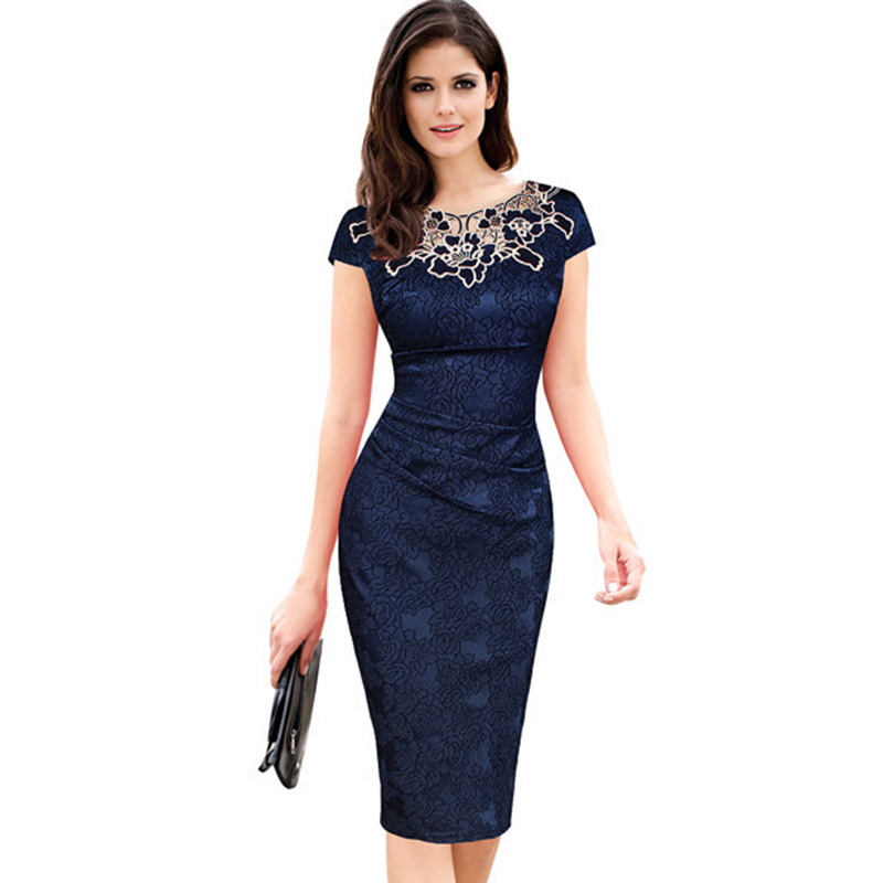 Fantaist Wanita Musim Panas Floral Bordir O Leher Ruched Lace Dress Elegant Wedding Party Kasual Kantor Vintage Midi Pensil Dresses