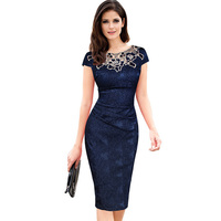 Fantaist Women Summer Floral Embroidery O Neck Ruched Lace Dress Elegant Wedding Party Casual Office Vintage