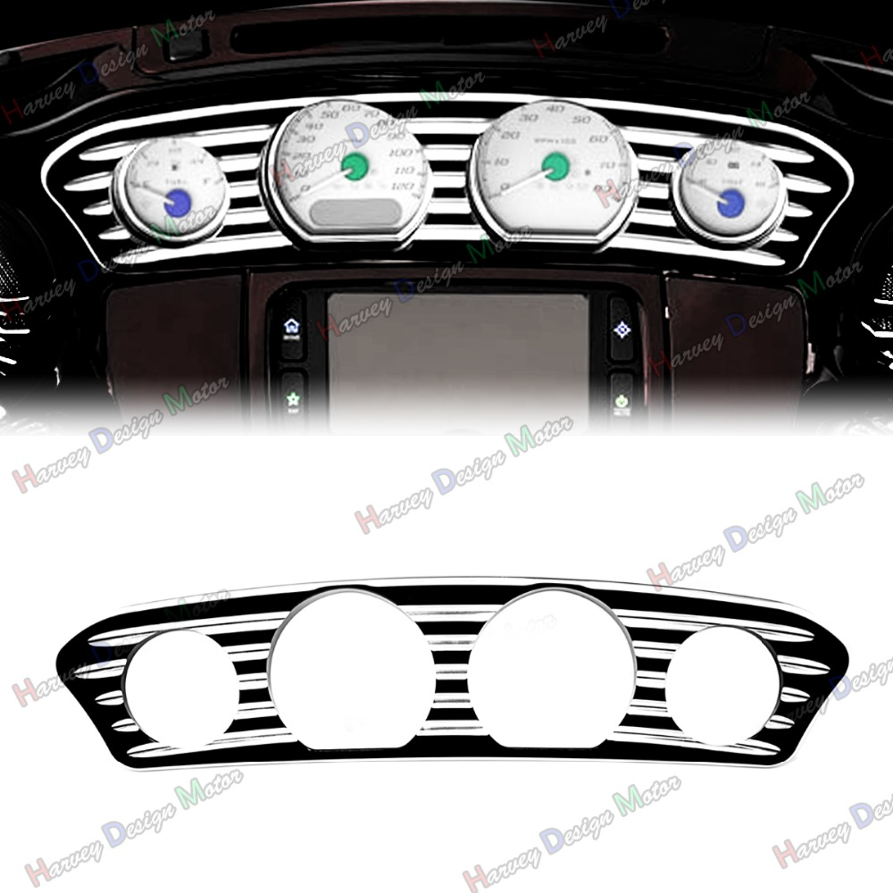 Deep Cut Inner Fairing Dash Trim For Harley Touring Street Glide FLHX Batwing 14-17 deep cut exhaust muffler tips for harley bagger touring pipes 4