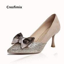 Cresfimix Women Classic High Quality Golden Shining High Heel Shoes