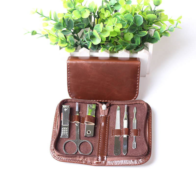 6pcs in 1 Men's Grooming Set Man Manicure Set Nail Art Care Pedicure Beauty Tools Stainless Scissor Nail Clipper Cutter Kit
