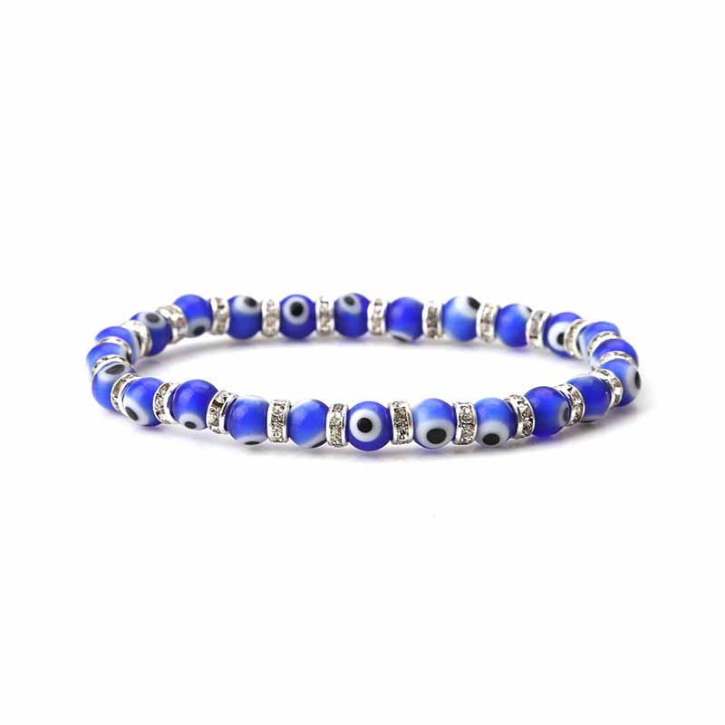 EVIL EYE new fashion 6mm evil eye bead blue spacer crystal bracelet stock sale for woman man gift