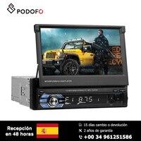 Podofo Car radio 1 Din 7'' HD Retractable Touch Screen Monitor DVD MP5 SD FM USB Player Rear View Camera