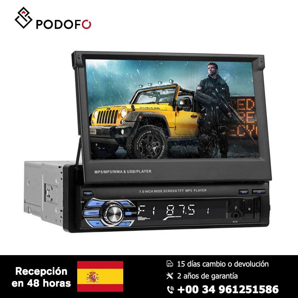 Podofo autoradio 1 Din 7 ''HD rétractable écran tactile moniteur DVD MP5 SD FM USB lecteur caméra de recul