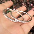Big Aros De Plata Round Large Hoops Earrings Silver Plated For Womens Paved with Rhinestones Imitated Diamonds Circle Earings