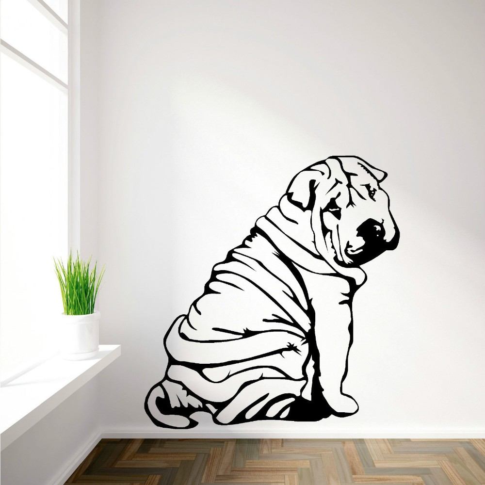 Free Shipping Shar Pei Sharpei Dog Wall Mural Removable