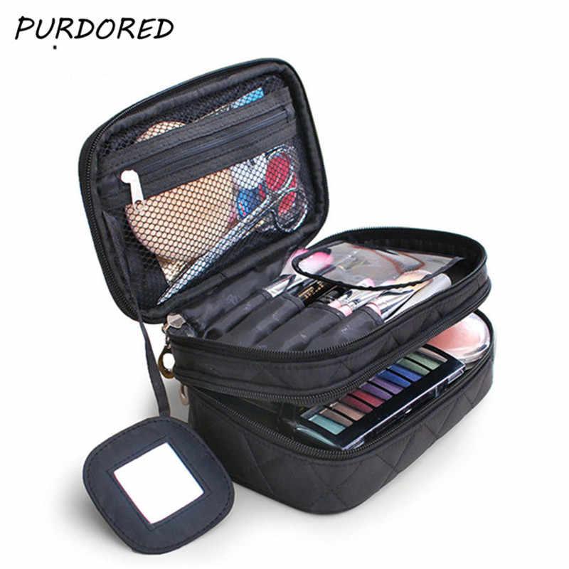 5da0b6c072cf PURDORED 1 pc 2 Layers Women Cosmetic Bag Beauty Makeup Brush Bags With  Mirror Travel Organizer