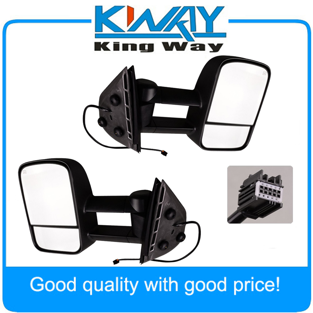 Side view mirrors power heated towing black lh rh pair set fit for 2007