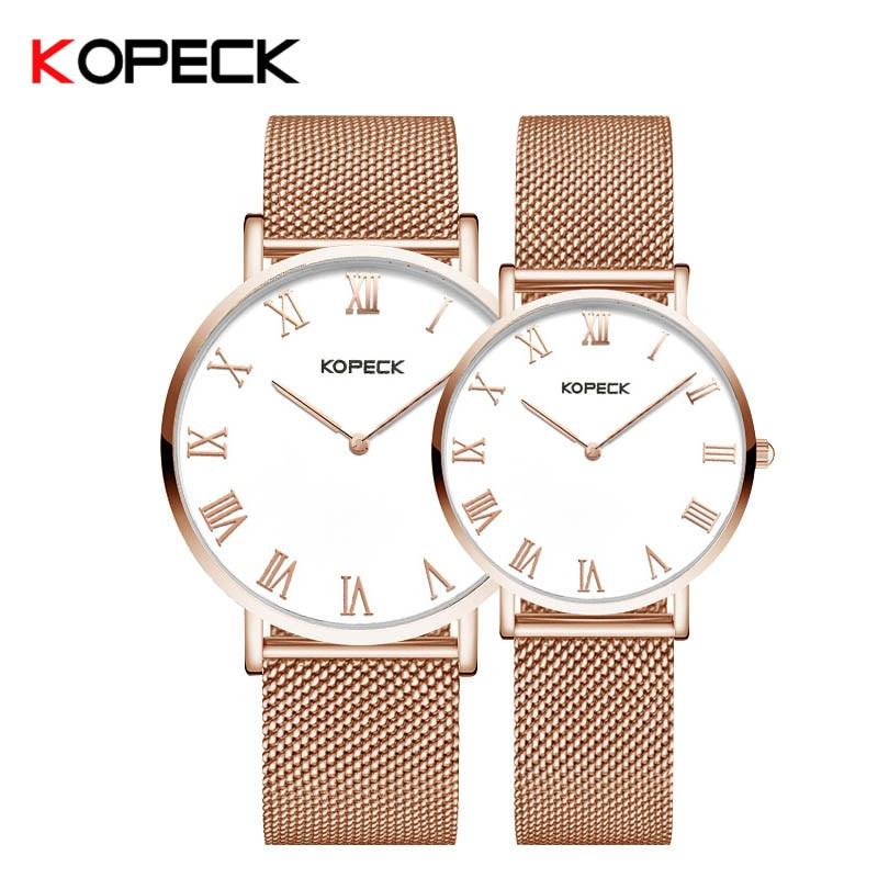 Kopeck New Luxury Men Watch Women Ultra Thin Stainless Steel Milan Mesh Strap Fashion Casual Watch Female Male Lovers Watch