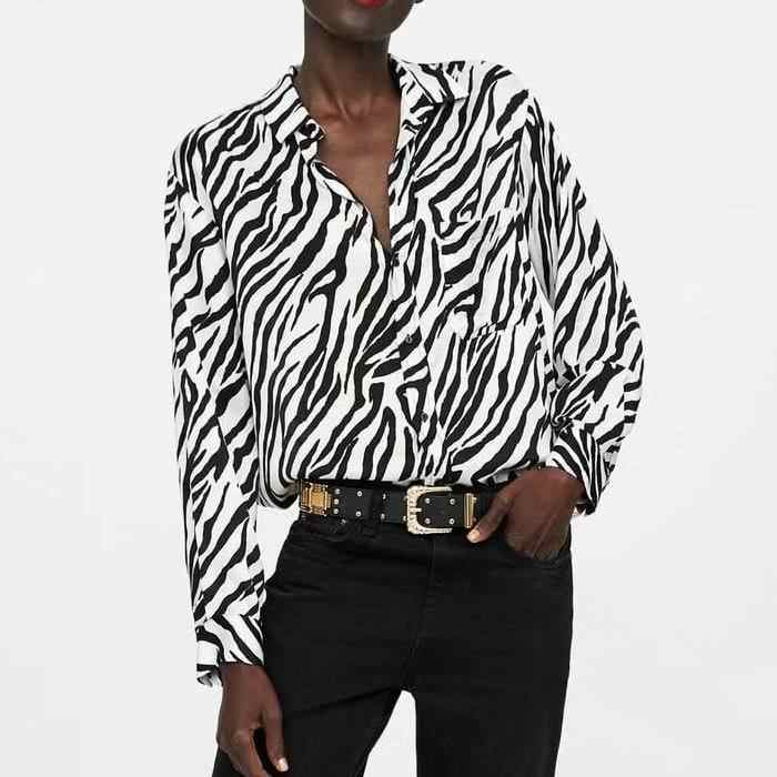 New Autumn Women Vintage Animal Print Blouse Zebra Pattern Long Sleeve  Pleated Shirts Loose Retro Basic 2a8004a0b