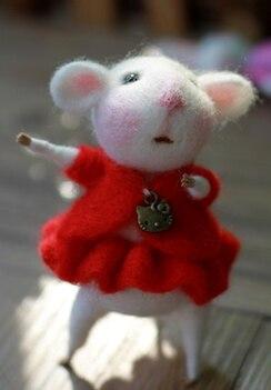Белая мышь серия мультфильм животных набор шерстяной вышитый набор Шерсть Войлок игла для валяния украшения Ремесло Вышивка своими руками ручной работы