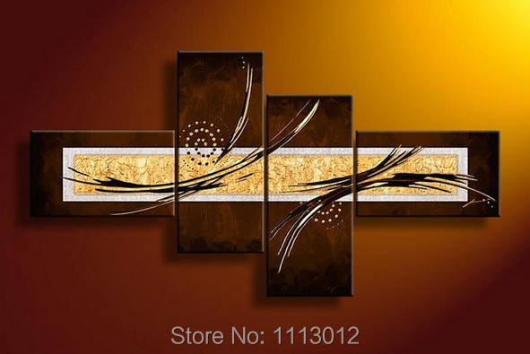 High Quality Modern Brown Letter Star Line Flower Oil Painting On Canvas 4 Panel Arts Sets Home Wall Decor For Living Room Sale