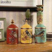NOOLIM, tanque de almacenamiento de cerámica Vintage americano, ornamento para decoración del hogar, armario de TV, armario de vino, tanque de almacenamiento artesanal