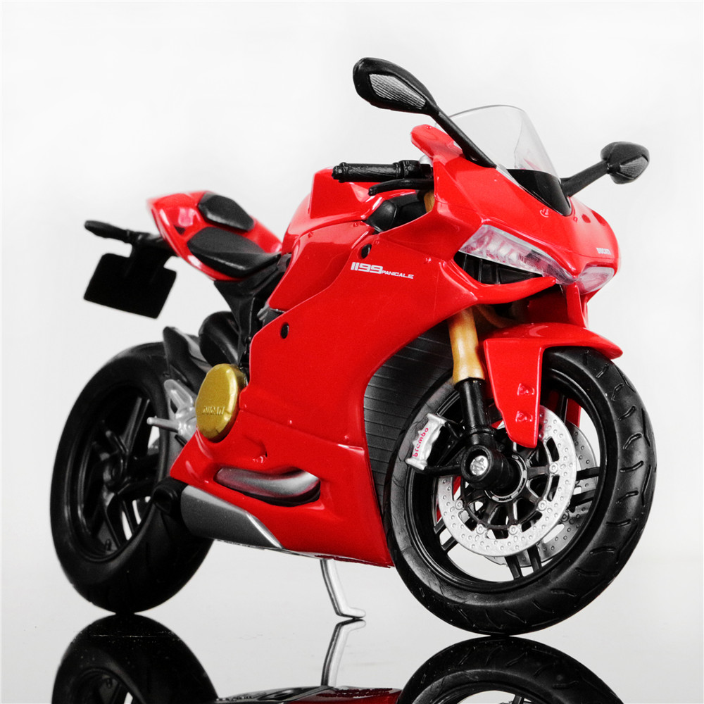 <font><b>1:12</b></font> Scale Die Cast Metal Tank DUCATI 1199 Panigale Motorbike Race <font><b>Cars</b></font> Mini Motorcycle Vehicle <font><b>Models</b></font> Office Toys Gifts for Kid image
