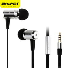 Original Awei ES100i Super Bass 3.5mm Jack HIFI Music In-ear Style Earphone with Microphone for mp3 mp4 Player Sound