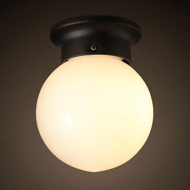 Loft industrial milk white glass ball ceiling light cafe bedroom loft industrial milk white glass ball ceiling light cafe bedroom aisle lamp corrid restaurant balcony gallery mozeypictures Images