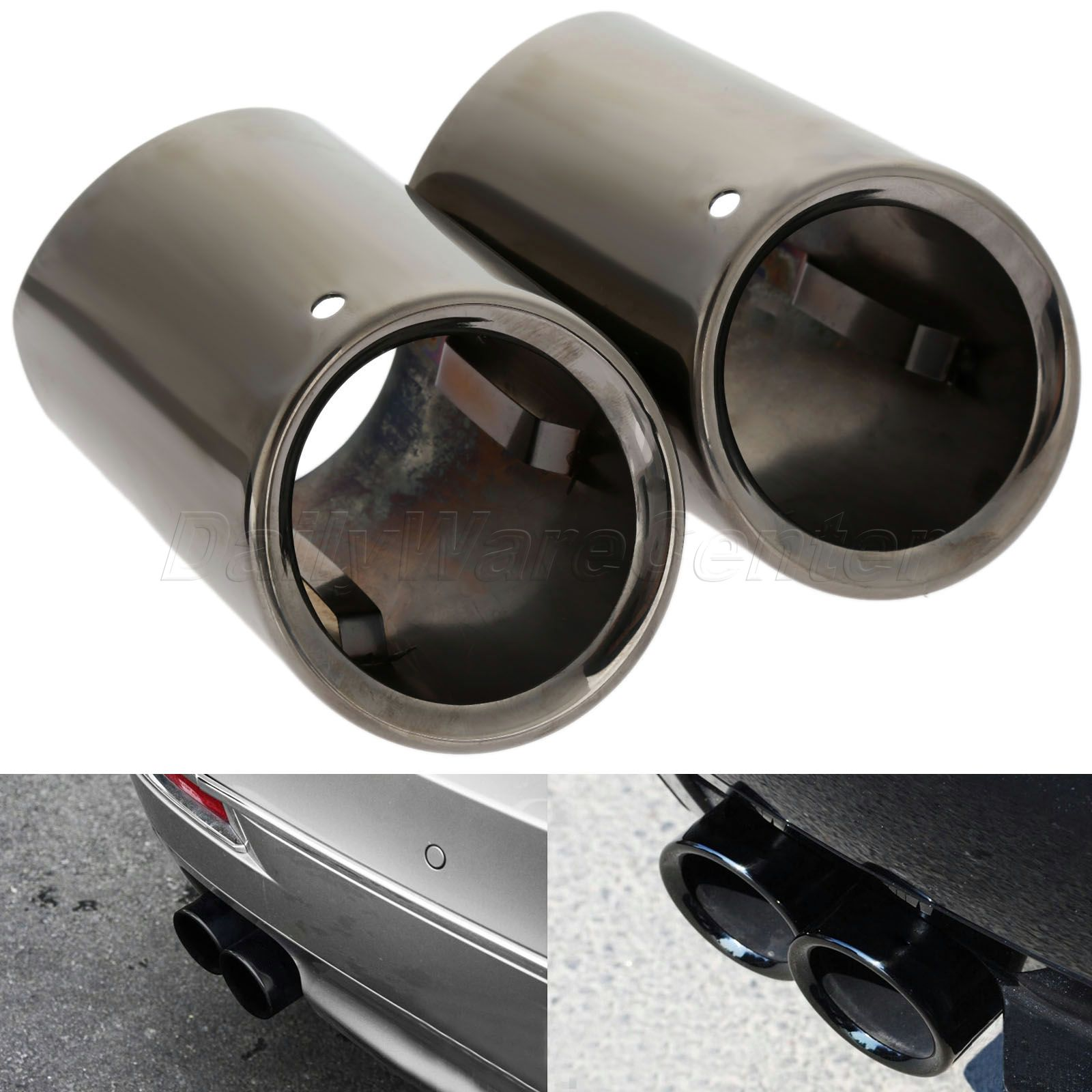 2Pcs Stainless Steel Car End Rear Muffler Exhaust Tip Pipes Tail Throat Case Tailpipe For BMW 5 Series F10 F18 520li 525li 528li stainless steel dual exhaust muffler tip tail pipe for bmw f30 320i 316i car styling