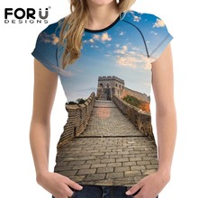 FORUDESIGNS t-shirt Women t shirts 3D Printing The Great Wall T shirt for Female Summer Clothing Short RMB Money Print Tops 2018