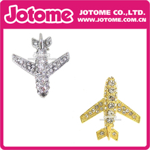 100pcs/lot Fashion Plane New  Cheap Gold Rhinestone Encrusted Airplane Pin Brooch for Men