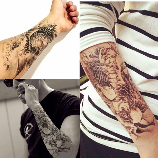 Impermeable Tatuajes Temporales Carpa Flor Brazo Tatuaje Adhesivos