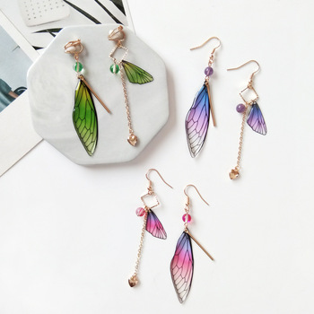 Asymmetric Butterfly Wing Clip on Earrings for No Pierced Ears Hole Bohemia Long Chain Feather Clip Earring Without Piercing Пирсинг ушей