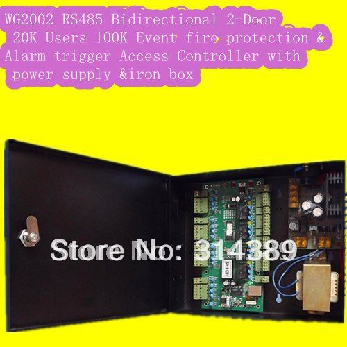 WG2002 RS485 Networking Two 2 Door Access Controller 20K Users 100K Events MEM Alarm Trigger Programmable with power supply цена 2017
