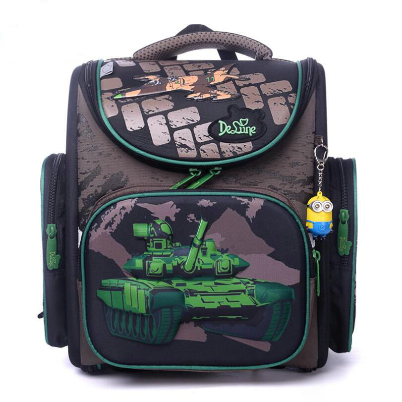 2018 New Brand Delune New boys School Bag 3D Tank Wars Pattern Waterproof Orthopedic Backpack Schoolbag Mochila Infantil escolar