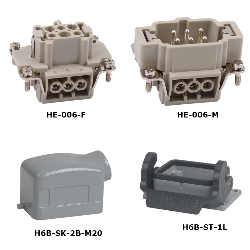 HE-006 a Whole set 16A 500V Heavy Duty electronic Connector jack screw and plugs 6 pin 24 pin 16a terminal block power crimp plug heavy duty connectors for spinning and packing machine mk he 024 4d