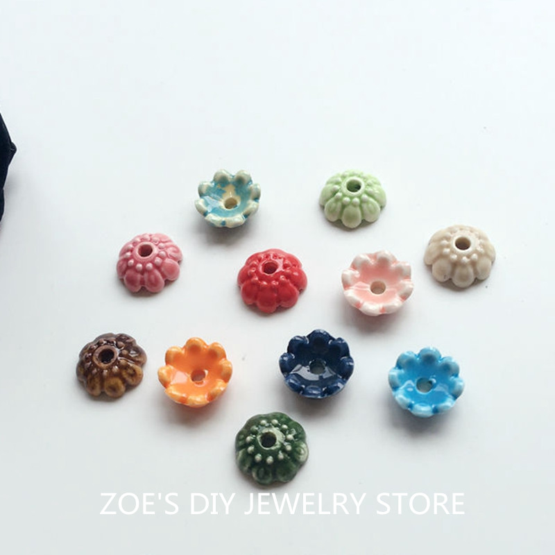 10MM 100Pcs/Pack Handmade Mix Colors Flower China Ceramic Porcelain Bead Caps Jewelry Findings Jewellery Accessories