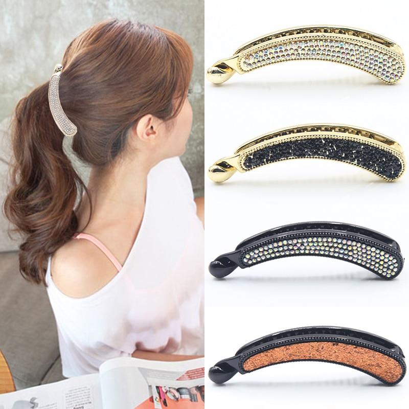 Crystal Hair Clip Women/'s Accessories Hairpin Barrette Rhinestone Banana