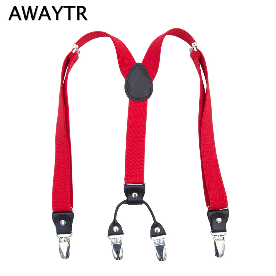 AWAYTR Hot Sale Garter Straps Red Color Braces for Girls Boys Suspenders 4 Clips Y-Shaped Summer Clothing Gifts 60 cm Suspenders