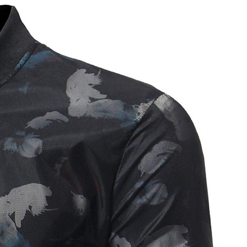 De Col Marque Longues Voguemen Vogue Black Floral Mode Outwear Nouvelle À Vêtements Automne Casual Imprimé Manches Montant Vestes Mâle Belle 8A8vwq7