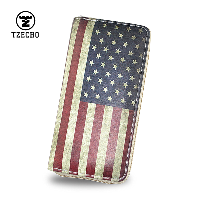 TZECHO Zipper Around Women Wallets Print US flag Long Ladies Money Purses Cartoon Girl Clutch Bag With Coin Pocket Card Holder hot sale owl pattern wallet women zipper coin purse long wallets credit card holder money cash bag ladies purses