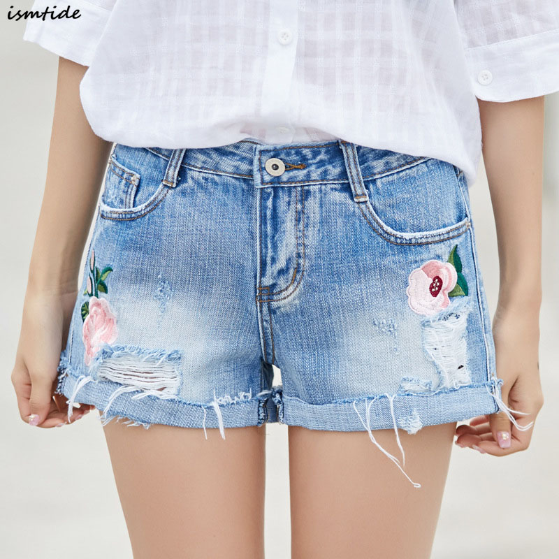 2017 Fashion Embroidery Denim Shorts Floral High Waist Jeans Short Femme Women Tassel Ripped Hole Loose Shorts Plus Size Summer