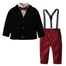 hot deal buy autumn kids suits blazers 2018 fashion baby boys shirt overalls coat tie suit boys formal wedding wear cotton children clothing