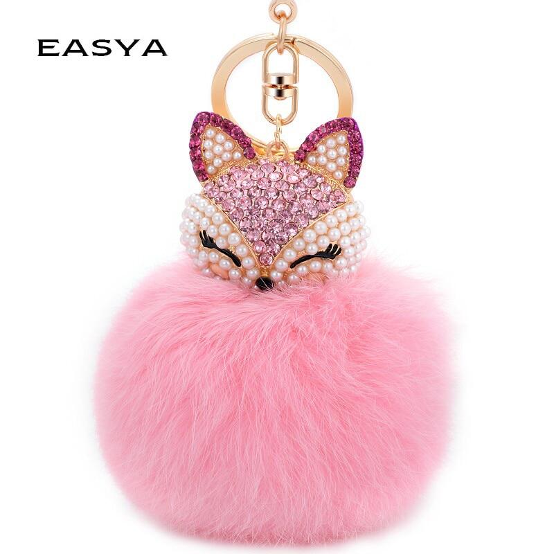 EASYA Cute Fox Bunny Keychain ბეწვი Pom Pom Ball Keychain ქალის ჩანთა გულსაკიდი Pretty Chic ხელნაკეთი ხიბლი Keyring ბუტიკი საჩუქარი