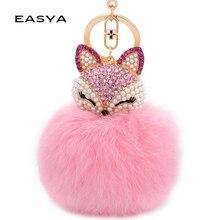 EASYA Cute Fox Bunny Keychain Fur Pom Pom Ball Keychain Women Bag Pendant Pretty Chic Handmade Charm Keyring Boutique Gift