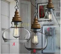 Modern Pendant Lamp Metal Materials Of Wood Grain Glass Pendant Restaurant Parlour Hanging Light Fixture