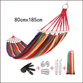 Colourful Outdoor Canvas Camping Hammock Bend Wood Stick  Garden Swing Hanging Chair