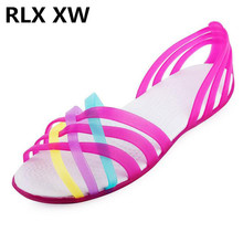 877f65b1af2 Women Sandals 2019 Hot Summer New Candy Color Women Shoes Peep Toe Stappy  Beach Valentine Rainbow