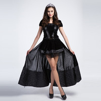 Black Gothic Witch Halloween Costumes Sorceress Long Fancy Dress With Headwear Devil Cosplay Adult Women Game Role Cosplays