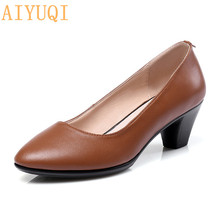 AIYUQI 2019 New Autumn Genuine Leather On Women OL Party Court Shoes Mid Heels Shoes Mary Jane Loafer Pointed female shoes fedonas new classic design women genuine leather shoes woman retro mary jane wedding party pumps female buckles prom shoes