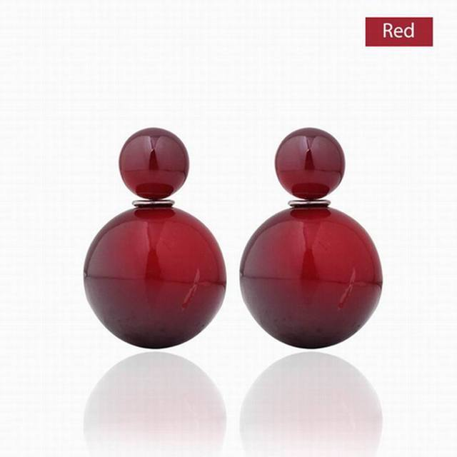 Hot Sale New Design Colorful  imitation Pearl Earrings Women Double Faced Simulated Pearl Brincos Earrings