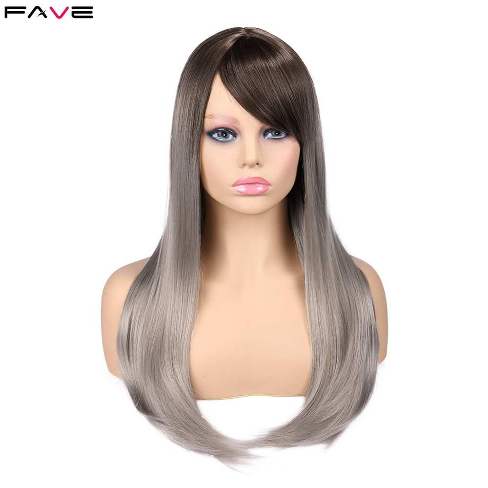 FAVE Synthetic Wig Straight Flax Silver 20 Inch With Side Part Bang Gradient Color Hair End Natural Size Adjust For Black Women