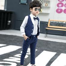 Осенний костюм для мальчиков, рубашка+ жилет+ штаны+ галстук, комплект из 4 предметов для свадебной вечеринки, деловой Школьный костюм в полоску с цветочным принтом для мальчиков, Детская весенняя одежда