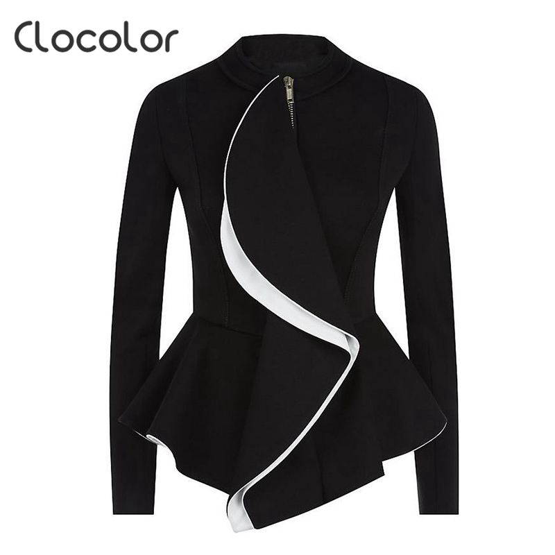Clocolor Autumn 2016 New Fashion Black Women Jacket Empire Ruffles Women Coat O Neck Long Sleeve