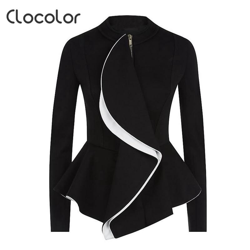 Clocolor women jacket coat l2017 spring Black Tops girls O Neck zipper work wear Long Sleeve peplum Women jacket