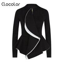 Clocolor Autumn 2016 New Fashion Black Women Jacket Empire Ruffles Women Coat O Neck Long Sleeve